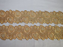 Embroidered traditional designing laces champagne Indian decorative dresses for wedding trimming fashion tape beach beg making borders embellishment sewing trim by the yard clothing accessories crafting ribbons