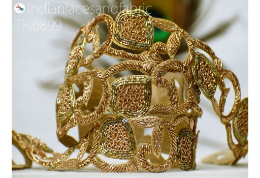 Decorative zardosi gold trim by the yard sari border handcrafted indian for blouses ribbon indian embellishments handmade laces fashion blogger crafting sewing bridal clutches designer dresses
