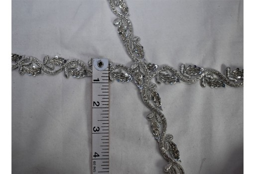 Sliver beaded trim bridal belt sashes wedding lehenga ribbon by the yard costume beads trimmings Christmas home décor sewing accessories party wear gown dresses bridal wears tape