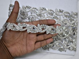 1'' Silver beaded trim by the yard indian laces costume wedding dress ribbon bridal belt sashes decorative crafting sewing sari border sewing accessories fashion tape costume designing festive wear for lehengas