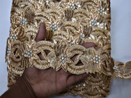"2"" Decorative zardosi gold trim by the yard sari border handcrafted indian crafting embroidered floral zari ribbon embellishments trimmings costume ribbon for designer suit garment accessories wedding wear and dresses"