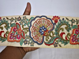 Beige embroidery Indian floral sari border crafting garment ribbon sewing fabric embellishment trimmings silk embroidered decorative trim by the yard fashion tape designing dresses accessories