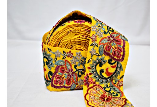Yellow wholesale sari border crafting ribbon sewing floral fabric saree embroidery sewing decorative trim by 9 yard beach bags making ribbon wedding wear and dresses garment accessories