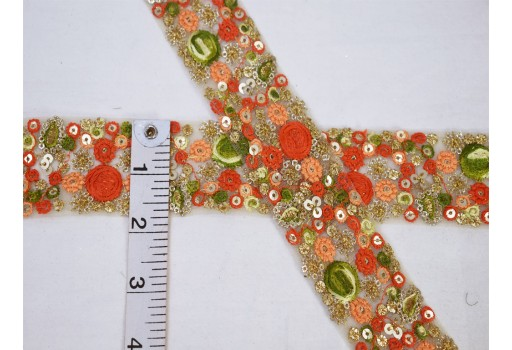 Wholesale orange floral embroidery trim embellishment embroidered saree ribbon sewing accessories crafting dresses net fabric trimming by 9 yard costume designing festive wear traditional border