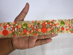 Beautiful stunning lace 1.8'' orange floral embroidery trim embellishment embroidered saree ribbon sewing accessories bridal clutches fashion tape crafting border indian trimming by the yard