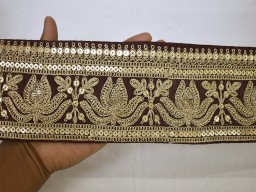 Beautiful stunning lace indian wine gold laces saree border fabric trim sold by yard embroidered trimmings sari ribbon crafting sewing accessories wedding dresses lotus design tape