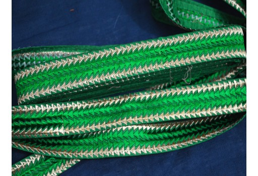 1 Inch wide Wholesale designer Trims on Green Fabric Decorative Trim Green Embroidered Sari border Ribbon And Trims Fabric And Embellishments Trim By 9 Yard crafting supplies