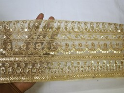 Extremely beautiful lace gold embroidered ribbon indian laces sari border net organza fabric trim by the yard embroidery decorative sewing accessories fashion crafting lehnga trimmings