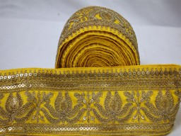 Beautiful stunning laces yellow gold lotus floral saree border fabric trim by yard traditional fashion embroidered trimmings boutique material  sari ribbon crafting sewing beach bags trims sewing accessories