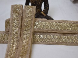 Beige saree border fabric laces and embellishments indian ribbon decorative embroidered trim by 2 yard sari borders crafting ribbon wedding dresses bridal wears tape garments accessories