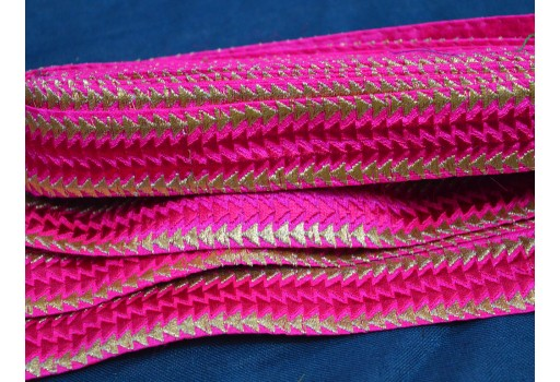 1 Inch wide Wholesale Embroidered Designer Trim Fabric Magenta and Gold trims and Embellishments Decorative Trims Embroidery Trimming Costume ribbon By 9 Yard