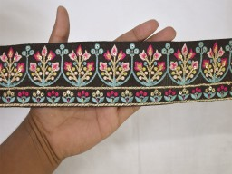 Extremely beautiful lace black embroidered decorative indian sari border crafting ribbon trim by the yard saree trimming sewing tape costume thread embroidery lace festive wear for lehengas sewing accessories
