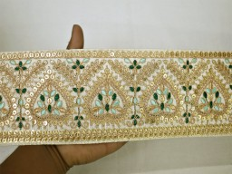 Extremely beautiful lace ivory saree fabric trim by the yard embroidered embellishment trimmings lehnga skirt ribbon indian sari gold crafting sewing sequins border boutique material costume designer fashion blogger