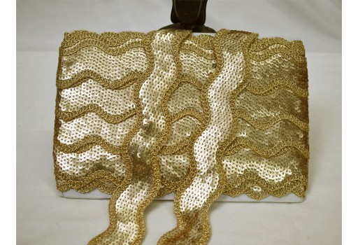 9 yard wholesale gold sequins work embroidery border festive wear lace dresses tape embellishments crafting trimming sewing costume decorative trim boutique material ribbon garments accessories