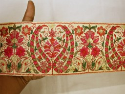 Extremely beautiful lace red floral indian laces saree fabric trim by the yard embroidered paisley trimmings ribbon indian sari border crafting sewing  embellishments costume designer fashion blogger clothing accessories