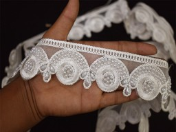 "2"" Sewing fabric trim and embellishments lace christmas decorative white embroidered saree ribbon indian sari border beaded trim by the yard stylish border for clutches fashion blogger costume designing festive wear sewing accessories"