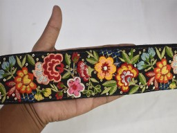 Black embroidered decorative floral saree ribbon sewing crafting border embroidery trim for scarves, fashion blogger embellishment indian fashion trimmings by the yard cotton laces christmas supplies home décor sewing accessories