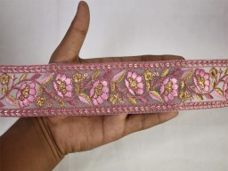 Extremely beautiful laces pink decorative indian laces sari border fabric embroidered craft ribbon wedding dresses bridal wears trim by 2 yard fashion embellishment bags trimmings sewing border clothing accessories