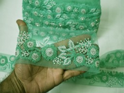 Beaded trim by the yard wedding dress ribbon decorative sea green white wears bridal belt sashes Indian laces costume crafting sewing sari border clothing accessories