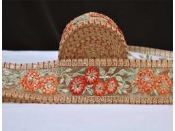 Decorative sari border fabric trim by the yard orange wear trimmings festive costume ribbon crafting sewing dr..