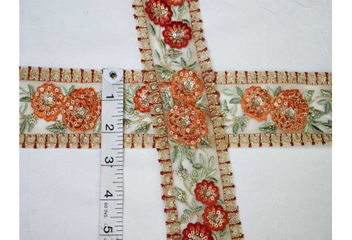 Decorative sari border fabric trim by the yard orange wear trimmings festive costume ribbon crafting sewing dresses accessories tape lace embroidered costume laces