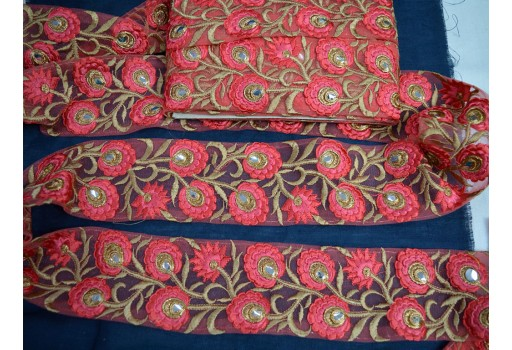 """2.5"""" Carrot Red Decorative Embellishments Crafting Ribbon Christmas Supplies Costume Sewing Laces Home Decor Embroidered Indian Saree Border Fabric Trim By The Yard"""