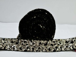 Black dress trim by 2 yard home decor lace sequins dupattas ribbon décor dresses costume tape decorative purse making trimmings holiday crafting sewing net fabric embellishments accessories