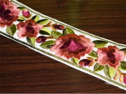 Peach embroidered designer rose lace rosewood and green colour embroidery beautiful trim by the yard floral pattern silk threads fabric border for designing stylish blouse
