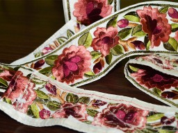 Peach embroidered designer trims scrap booking costume trim by the yard decorative wedding dress embroidery ribbon sewing embellishments crafting fashion tape clothing accessories