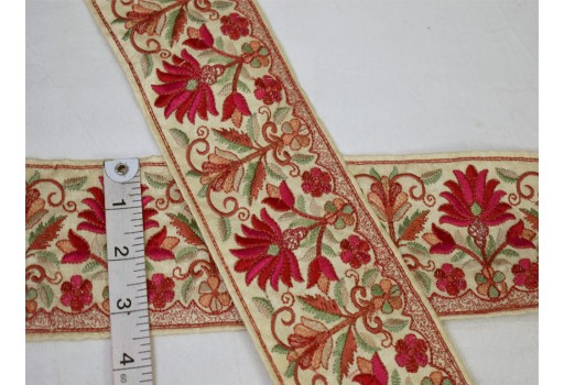 Decorative indian ribbon red embroidered lace costume sewing embellished trim by the yard christmas trimming wedding wear dresses home decor stylish lehenga tape sewing crafting  beautiful online borders