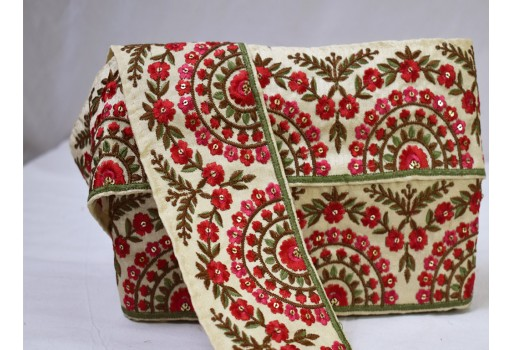 Red embroidered indian sari border embroidery fabric trimming home decor crafting ribbon decorative saree trim by the yard sewing lace garments accessories costume fashionable dresses tape