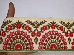 Red embroidered indian sari border embroidery fabric trimming home decor crafting ribbon decorative saree trim..