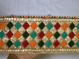 Decorative multi color sequins work embroidery fabric trim by the yard indian multi color embroidered saree se..