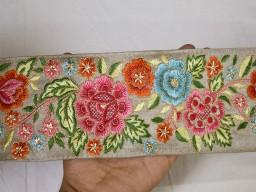 Embroidered grey indian sari border crafting fabric saree sewing decorative trim by the yard beach bag cushion..