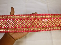 Embellishment decorative fancy lace magenta gold fabric trim by yard embroidered trimming indian sari border c..