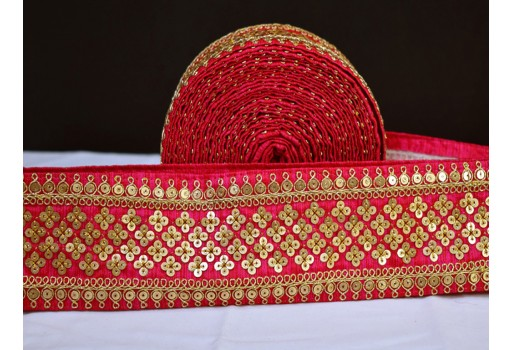 Embellishment decorative fancy lace magenta gold fabric trim by yard embroidered trimming indian sari border crafting sewing sequins work lace home decor curtain cushion caver furnishing ribbon