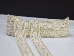 2 yard embroidered white decorative Indian laces sari border fabric craft ribbon trim fashion embellishment trimmings sewing gown making border wedding gown dresses home décor party wear lehenga tape