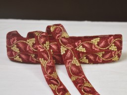 2 yard maroon decorative costume crafting ribbon embroidered trim wedding home décor party wear gown dress Christmas tape Indian sari border fabric saree trimmings sewing headband cushion laces