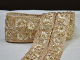 2 yard beige Indian embroidered fabric trim decorative gold saree border sari costume ribbon crafting sewing pillow cushion covers laces home décor party wear lehenga dresses tape
