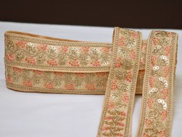 2 yard peach decorative embroidery Indian laces sari border fabric sewing crafting wedding party wear dress ribbon lehenga material tape home décor drapery cushion covers trimming jewelry making trim