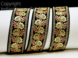 2 yard black decorative embroidery Indian laces sari border fabric sewing crafting wedding party wear dress ribbon lehenga material tape home décor drapery cushion covers trimming jewelry making trim