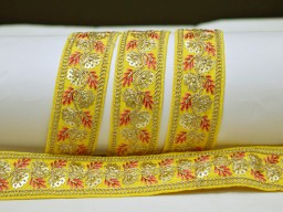 2 yard embroidered yellow decorative Indian laces sari border fabric sewing crafting wedding party wear dress ribbon lehenga material tape home décor drapery cushion covers trimming jewelry making trim