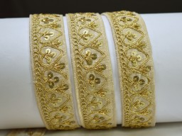 2 yard ivory sequins saree border fabric trims embellishments decorative embroidered laces crafting Indian book binding ribbon wedding home décor party wear festive gown dress Christmas tape