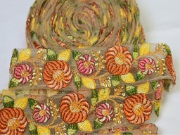 2 yard orange Indian embroidered floral trim decorative accessories saree border sari costume ribbon crafting Trimmings Lamp Shade cushion covers laces party wear gown dresses tape