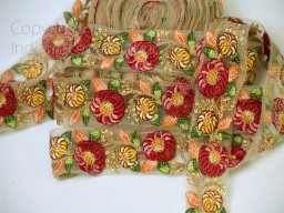 2 yard orange Indian embroidered floral trim decorative accessories saree border sari costume ribbon crafting Trimmings Lamp Shade cushion covers laces home décor party wear gown dresses tape