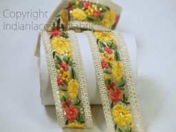 2 yard Indian yellow embroidered ribbon saree trimmings wedding dress lehenga decorative embroidery fabric sewing accessories trim sari crafting border beach bags lace party wear gown tape