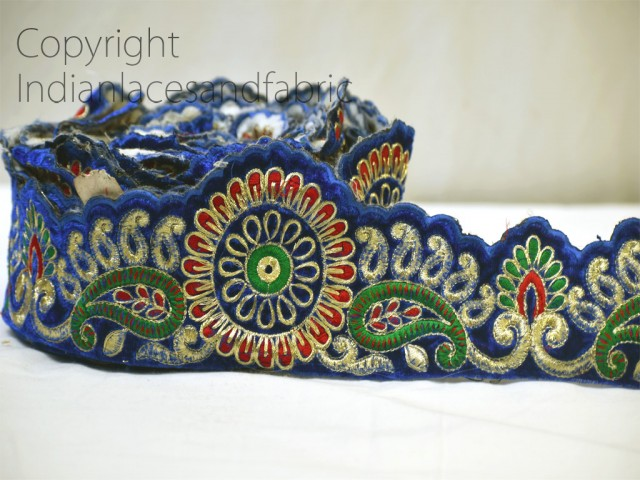 9 Yard wholesale floral blue velvet embroidery saree border embroidered Indian trim decorative costume tapes curtains clutches trimming Christmas decoration ribbon crafting sewing accessory home decor lace