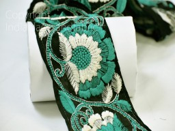 9 Yard wholesale embroidered sea green black fabric trim decorative saree trimmings dresses border crafting Christmas decoration ribbon crafting sewing accessory home decor lace