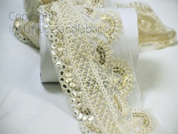 9 Yard wholesale floral ivory decorative embroidery net fabric border Indian trim costume tapes curtains clutches trimming Christmas decoration ribbon crafting sewing accessory home décor lace