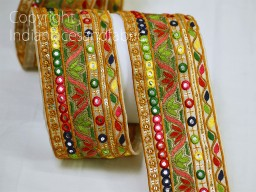 9 Yard Green Wholesale Embroidered saree trimming fabric trims embellishments laces decorative dresses trim embroidery costume ribbon Indian costume tape suit borders clothing accessories